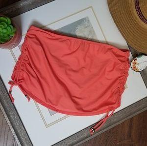 NWT Neon Coral Orange Swim Skirt Bottom Ruched